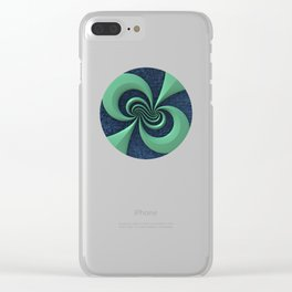 Green on Blue Clear iPhone Case