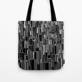 Tall city B&W inverted / Lineart city pattern Tote Bag