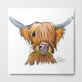 Scottish Highland Cow ' LITTLE VIKING 2 ' by Shirley MacArthur Metal Print