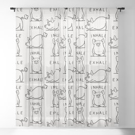 Inhale Exhale Pig Sheer Curtain