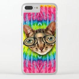 TIE DYE CAT Clear iPhone Case