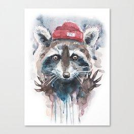Raccoon watercolor Canvas Print