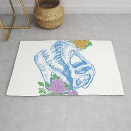 Floral T-Rex Skull Rug