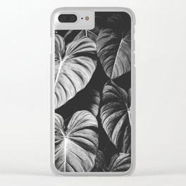 Monstera Black and White Clear iPhone Case