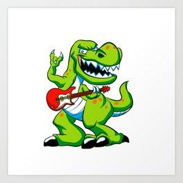 Dino rock plays a guitar. Art Print