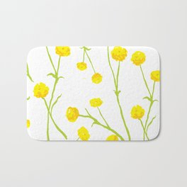 Summer Flower Pattern in Yellow and Green Bath Mat