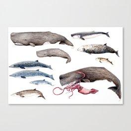 Deep sea whales Canvas Print