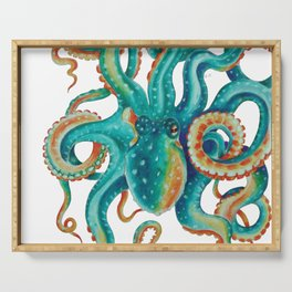 Octopus Tentacles Teal Green Watercolor Art Serving Tray