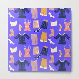 Colorful hanging clothes seamless pattern. Creative and modern graphic design. Vibrant colors. Metal Print