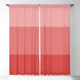 Coral Red Tricolor Bars Blackout Curtain