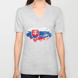 Slovakia Flag Tee Shirt Unisex V-Neck