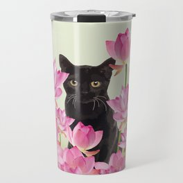 Lotus Flower Blossoms Black Cat Travel Mug