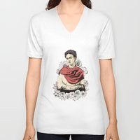frida kahlo V-neck T-shirts featuring Frida Kahlo by Juan Rodriguez Cuberes