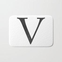 Letter V Initial Monogram Black and White Bath Mat