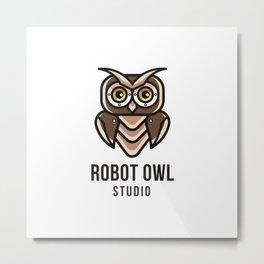 Robot Owl Studio Logo Template Metal Print