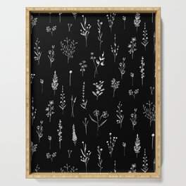 Black wildflowers Serving Tray