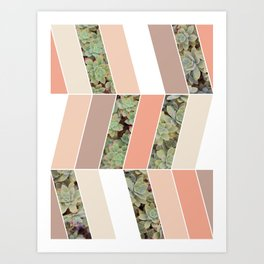 Pink Herringbone #society6 #pink #succulent Art Print