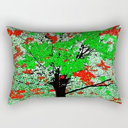 TREE RED AND GREEN LEAF Rectangular Pillow