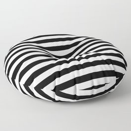 Modern Black White Stripes Monochrome Pattern Floor Pillow