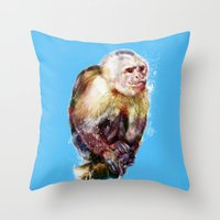 monkey Throw Pillows featuring Monkey by beart24