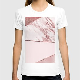 Spliced mixed pinks rose gold marble T-shirt