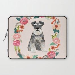 schnauzer floral wreath dog breed pet portrait dog mom Laptop Sleeve