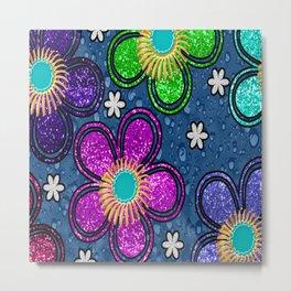 Glitter Flowers Metal Print