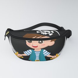 Pirate girl with telescope drawing for kids Fanny Pack