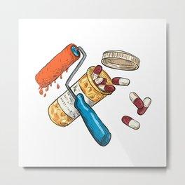 Paint Roller Medicine Capsule Bottle Drawing Color Metal Print