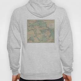 Vintage Great Lakes Lighthouse Map (1898) Hoody