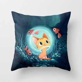Ginger cat and fishes Throw Pillow