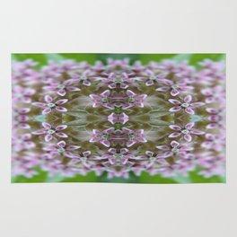 Kaleidoscope Pink Milkweed Flower Macro Photograph Rug