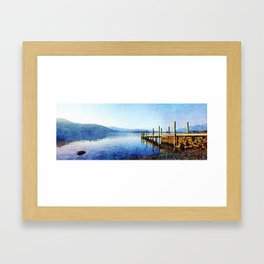Derwentwater Shore and Dock, Lake District, UK. Watercolor Painting. Framed Art Print