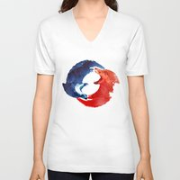 ying yang V-neck T-shirts featuring Ying yang by Robert Farkas