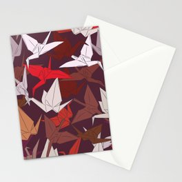 Japanese Origami paper cranes symbol of happiness, luck and longevity, sketch Stationery Cards