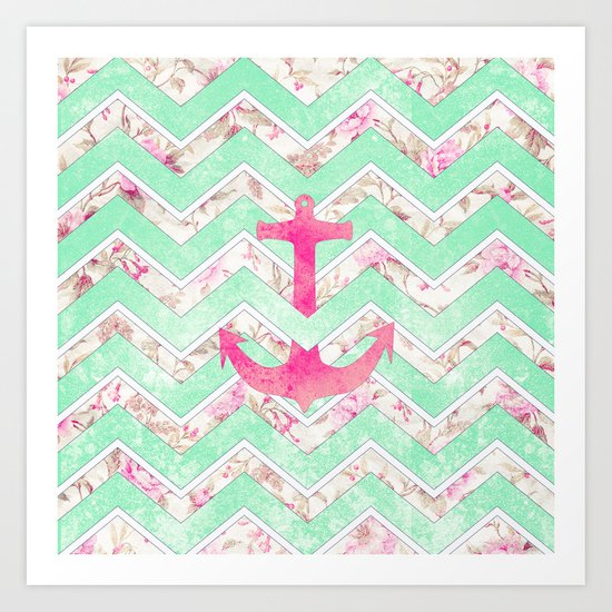 Pink Nautical Anchor Teal Floral Chevron Pattern Art Print