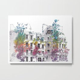 Parisian Roofs - Surrealistic Post Apocalyptic Watercolor Painting Metal Print
