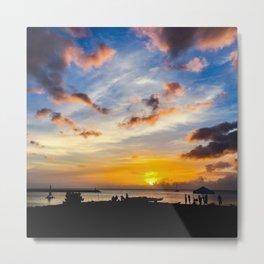 Sunset at Beach n Oahu, HI Metal Print