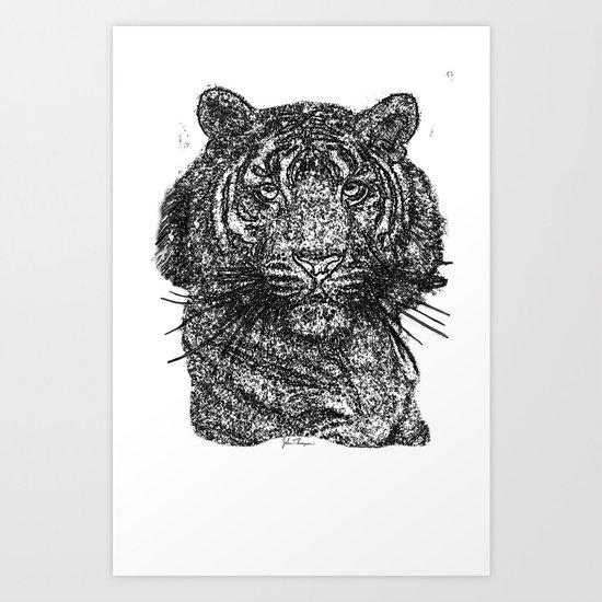 Tiger line drawing Bl Art Print