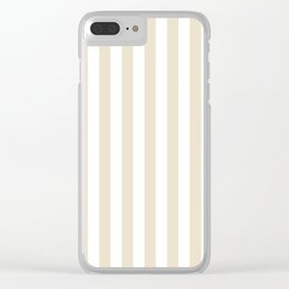 Narrow Vertical Stripes - White and Pearl Brown Clear iPhone Case