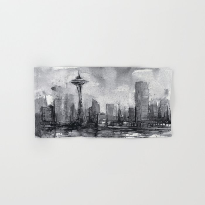 Seattle Skyline Painting Watercolor Black and White Space Needle Hand & Bath Towel