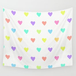 Cute Pastel Rainbow Hearts Pattern Wall Tapestry