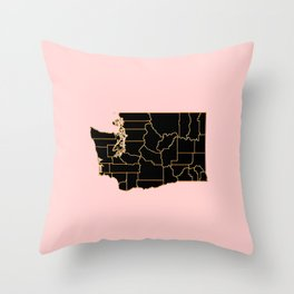 Washington map Throw Pillow