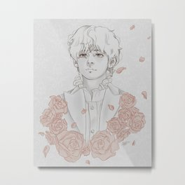 Taehyung with roses Metal Print