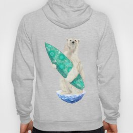 Polar bear & Surf (green) Hoody
