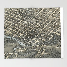 Vintage Pictorial Map of Houston Texas (1873) Throw Blanket
