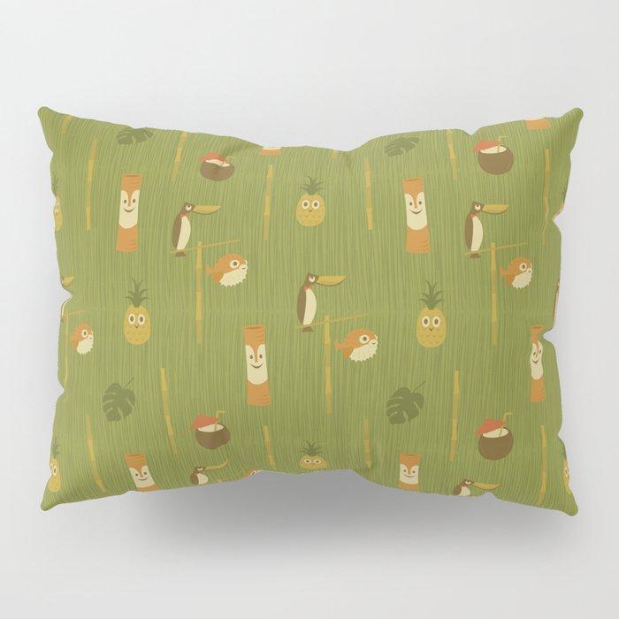 Kitschy Tiki Pattern Pillow Sham