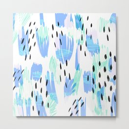 Addie - bold abstract - bright blue Metal Print