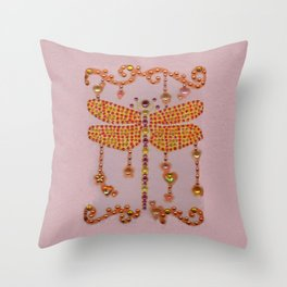 Dragonfly in Pink Throw Pillow