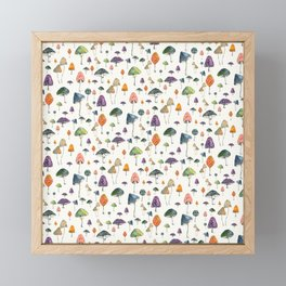 Watercolor mushrooms pattern on cream background Framed Mini Art Print